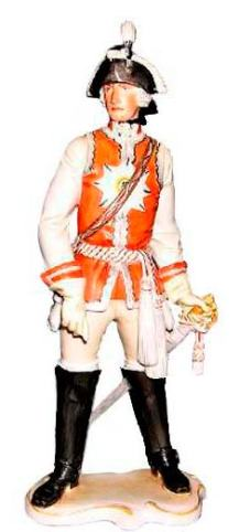 №139 Garde du Corps (Offizier der Schlosswache) (1740-1786 from the time of King Frederick II or Frederick the Great) manufactured in 1944, painted, height: 28 cm.