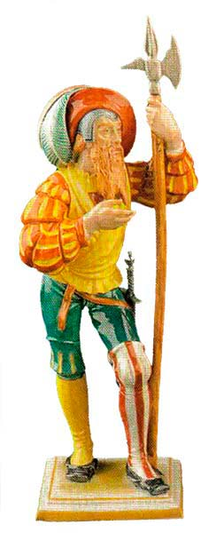 Model №153 Landsknecht mit Hellebarde / Lansquenet 'Halberdiers', painted (around 1500 from the time of Emperor Karl V), introduced in 1943, height 27.5 cm.
