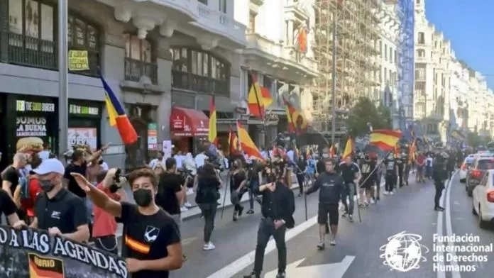 Press and Neo-Liberals outraged by National Socialist march in Madrid